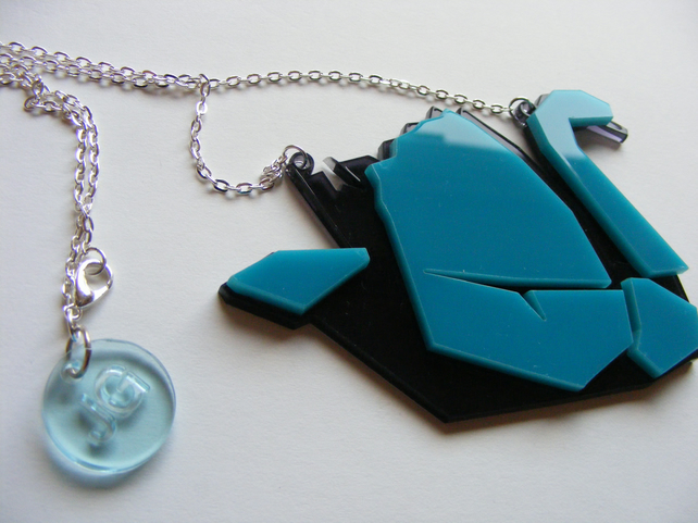 Origami Swan Necklace - Laser Cut - Turquoise and grey or pink and grey