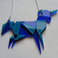 Origami Unicorn Necklace - Laser Cut - Turquoise and blue or blue and pink