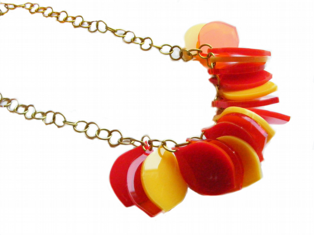 Petal Necklace - Orange and Red.