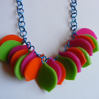 Petal Necklace - Pink and Green