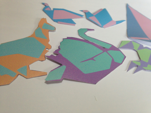 Pack of Vinyl Origami Stickers - Pastel Coloured, hand-cut