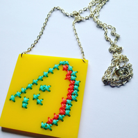 Embroidered Watermelon Necklace - Yellow