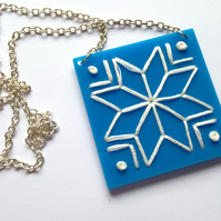 Snowflake Embroidered Necklace - solid blue and white
