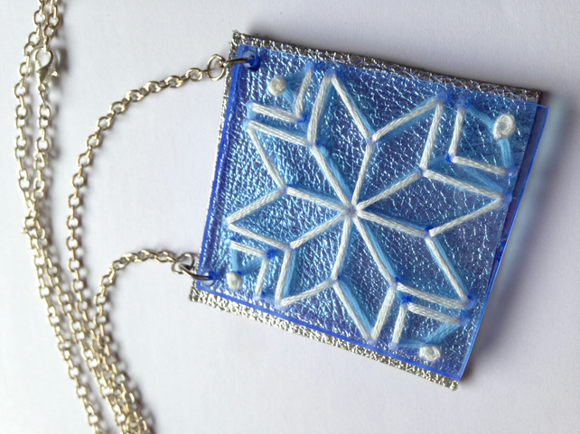 Snowflake Embroidered Necklace - Blue and Leather