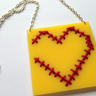 Heart Embroidered Necklace - Yellow