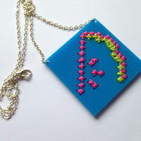 Watermelon Embroidered Necklace - Blue