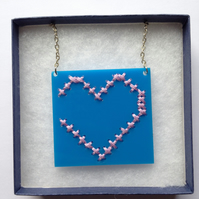 Heart Embroidered Necklace - Blue