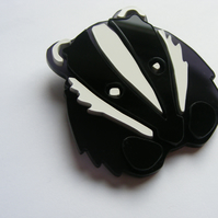 Badger Face Brooch - Laser-cut Perspex