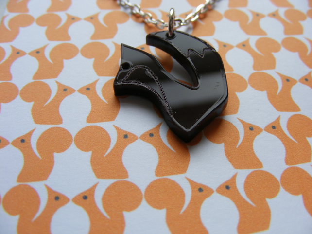 Tiny Fox Pendant - Brown Laser Cut