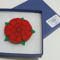 English Rose Brooch – Lancashire Red