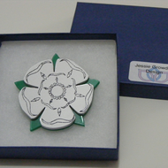 English Rose Brooch – Yorkshire White – Laser Cut Acrylic