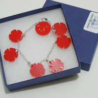 English Rose Charm Bracelet – Lancashire Red - Laser Cut Acrylic