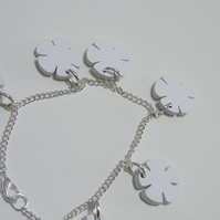 English Rose Charm Bracelet – Yorkshire White - Laser Cut Acrylic