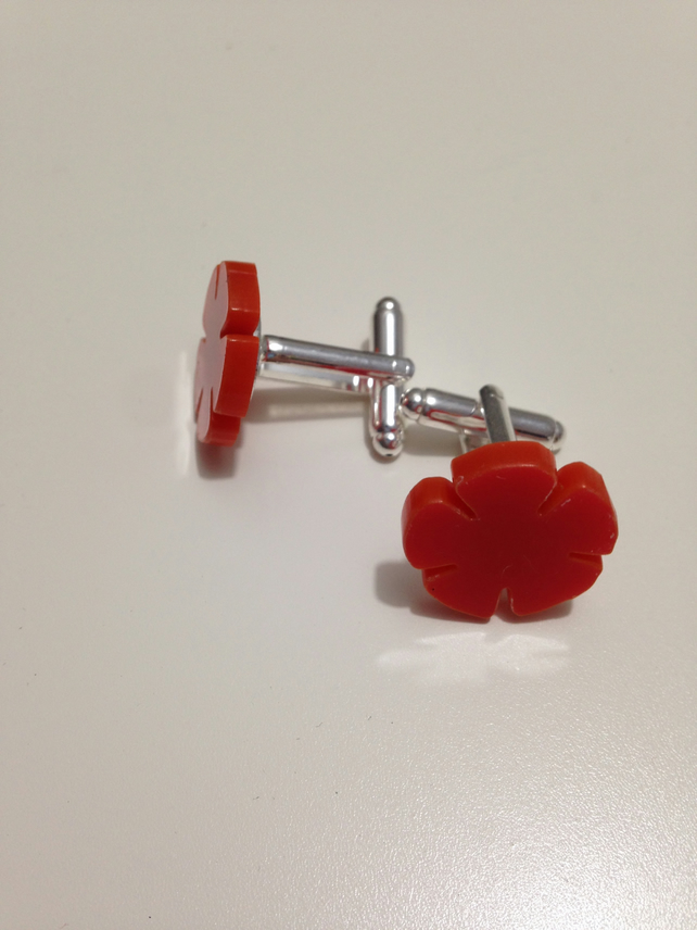 English Rose Cufflinks – Lancashire Red - Laser Cut Acrylic