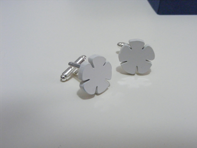 English Rose Cufflinks – Yorkshire White – Laser Cut Acrylic