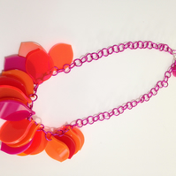 One-off colour way petal necklace - Pinks, Oranges, Reds