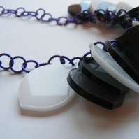 Grey, Ivory, Purple Petal Necklace - Laser Cut Acrylic