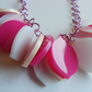 Pink, Ivory Petal Necklace - Laser Cut Acrylic