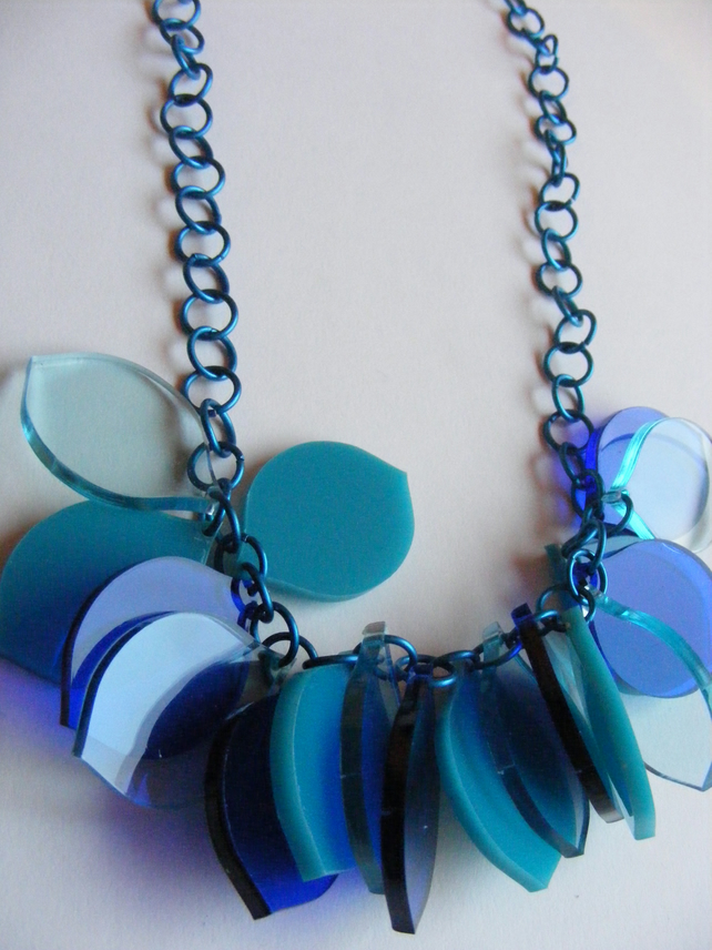 Turquoise, Blue Petal Necklace - Laser Cut Acrylic
