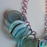 Glass, Blue Petal Necklace - Laser Cut Acrylic