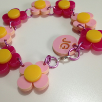Flower Bracelet - Pink and Pale Pink - Laser Cut Acrylic