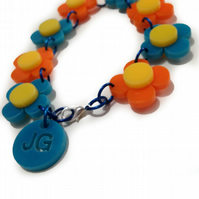 Flower Bracelet - Orange and Turquoise - Laser Cut Acrylic