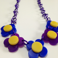Flower Necklace - Purple and Blue Laser Cut Acrylic