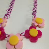 Flower Necklace - Pink and Pale Pink - Laser Cut Acrylic
