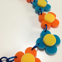 Flower Necklace - Turquoise and Orange - Laser Cut Acrylic