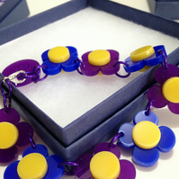 Flower Necklace - Purple and Blue
