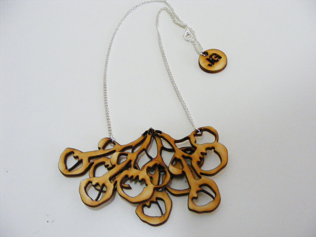 Wooden Berry Necklace - Laser Cut Wood