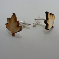 Sycamore Leaf Cufflinks - Laser Cut Wood