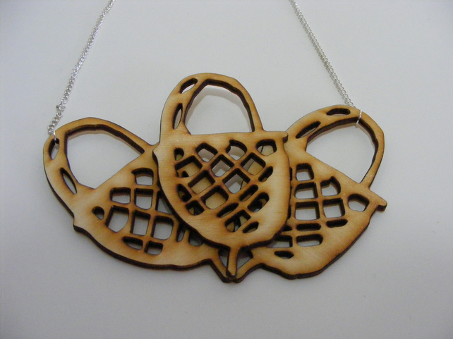 Acorn Necklace - Laser Cut Wood