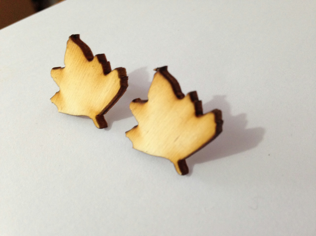 Sycamore Leaf Earrings - Laser Cut Wood