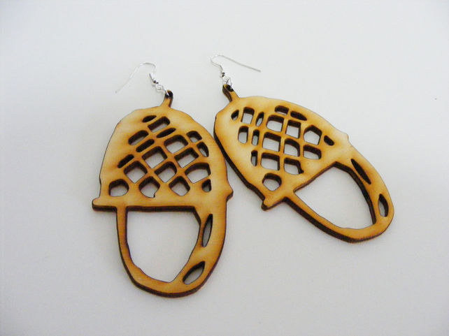 Acorn Dangle Earrings - Laser Cut Wood