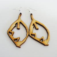 Beech Leaf Dangle Earrings - Laser Cut Wood