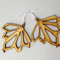 Sycamore Leaf Dangle Earrings - Laser Cut Wood