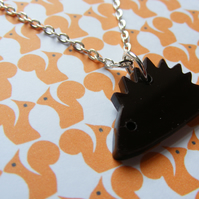 Tiny Hedgehog Pendant - Laser-cut Acrylic Brown