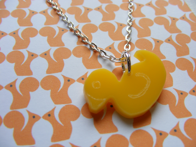 Rubber Duck Tiny Pendant - Yellow Laser Cut Acrylic