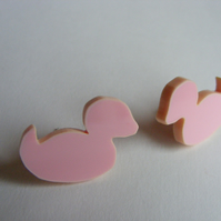 Pink Rubber Duck Earrings - Laser Cut Acrylic