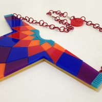 Statement Jumper Necklace - Laser-Cut Acrylic, hand-assembled aluminium.