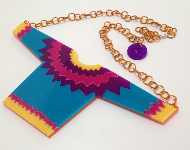 Statement Jumper Yoke Necklace - Laser-Cut Acrylic, hand-assembled aluminium.