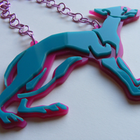 Celtic Dog Statement Necklace - Laser-Cut Perspex - Turquoise