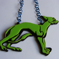 Celtic Dog Statement Necklace - Laser-Cut Perspex - Green