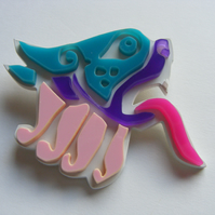 Celtic Lion Brooch - Laser-Cut Perspex - Pinks
