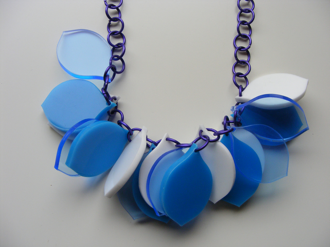 One-off Colourway Laser-Cut Petal Necklace - Blues