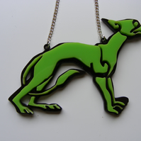 Small Celtic Dog Necklace - Green and Brown