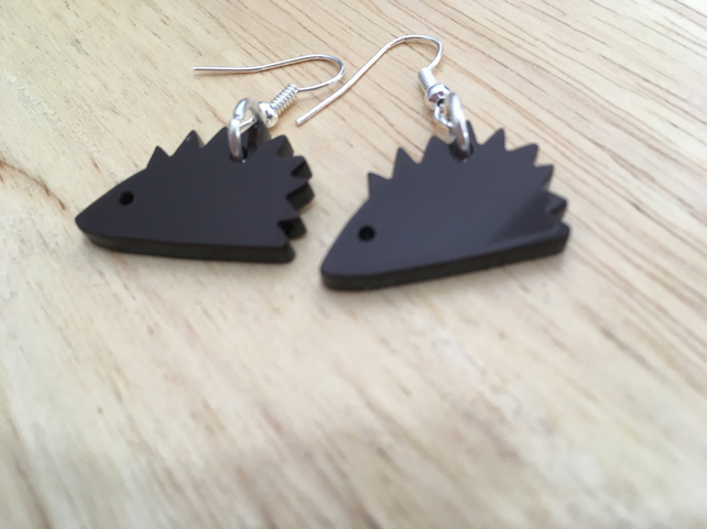 Little Hedgehog Dangle Earrings - laser cut acrylic,  silver plated wires