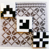 "Black and White Grid Brooch ""Norwegian Plastic"" Laser Cut"