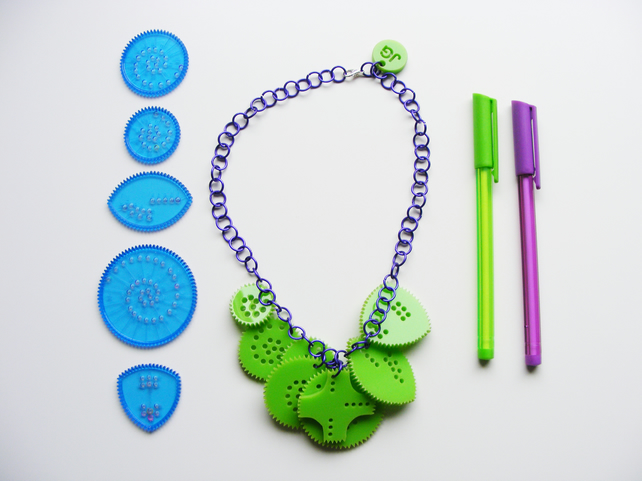 Colourful Circular Drawing set necklace, inspired by Spirograph